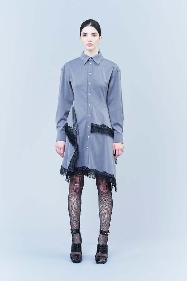 RELAXED POLO DRESS IN TECH FLANNEL AND LACE