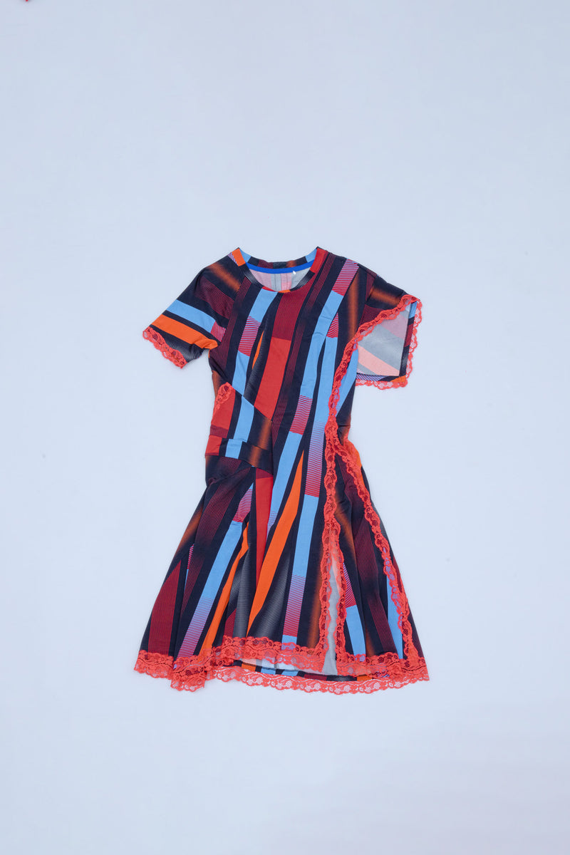 ROUND NECK STRETCH VISCOSE DRESS