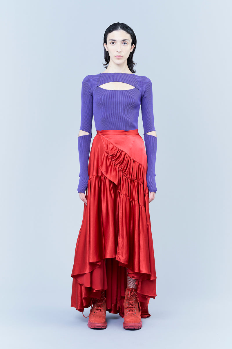 SMOOTH SATIN VISCOSE LONG SKIRT