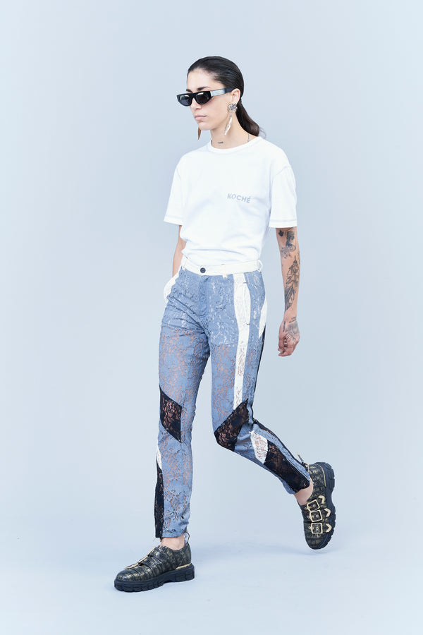SPORTY-LOOK BIKER TROUSERS IN COLOUR-BLOCK LACE