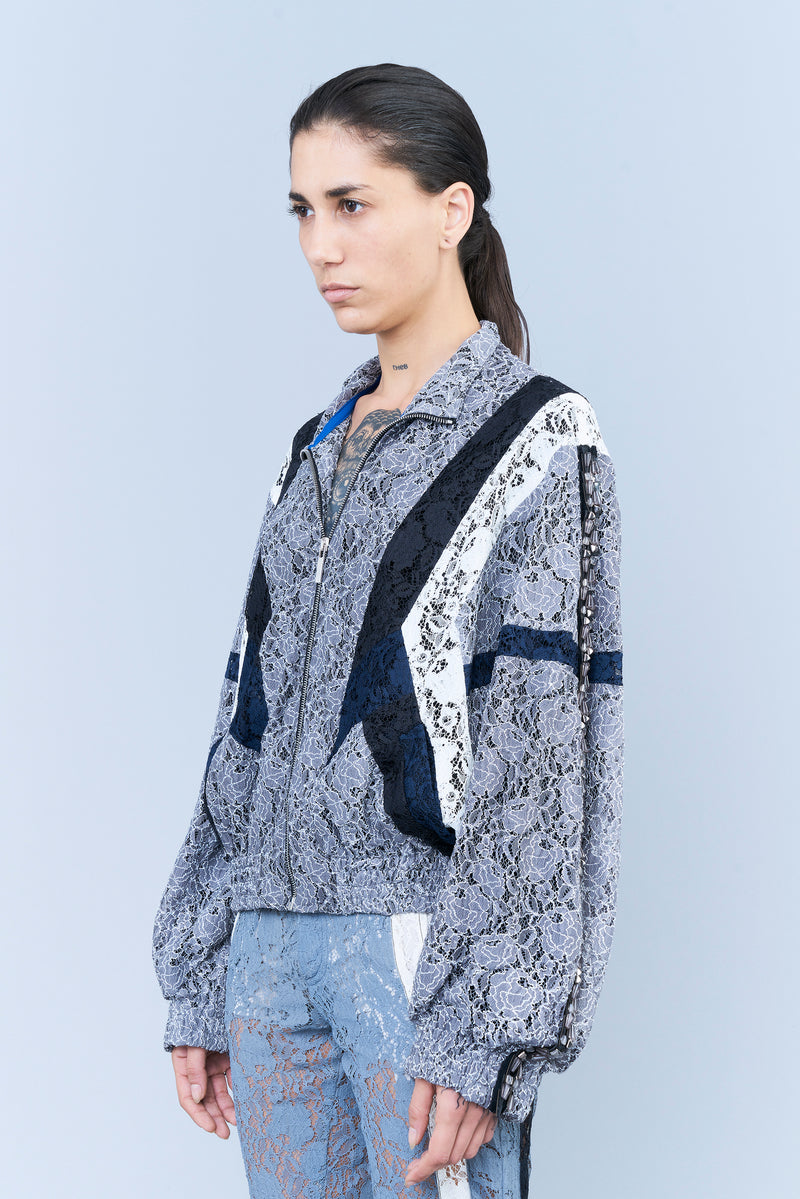SPORTY-LOOK JACKET IN COLOUR-BLOCK LACE