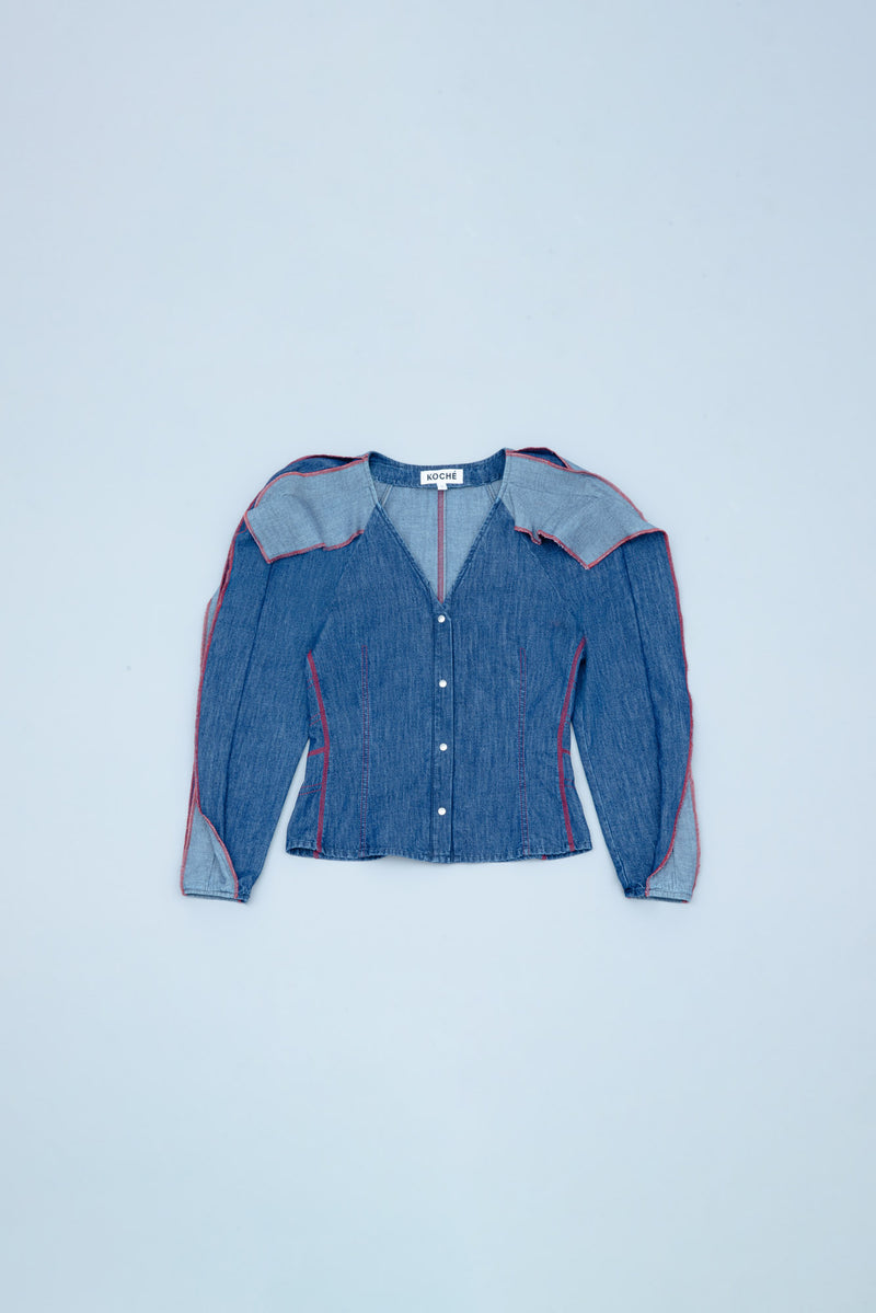 V-NECK DARK/LIGHT DENIM SHIRT WITH RUFFLE