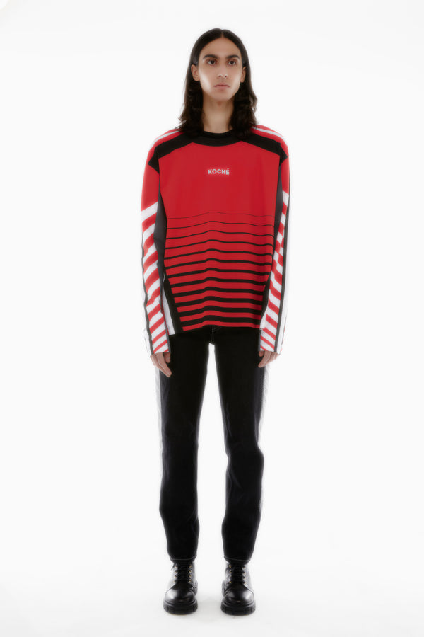 LONG SLEEVES RED JERSEY T-SHIRT