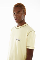 YELLOW COVER-STITCH T-SHIRT