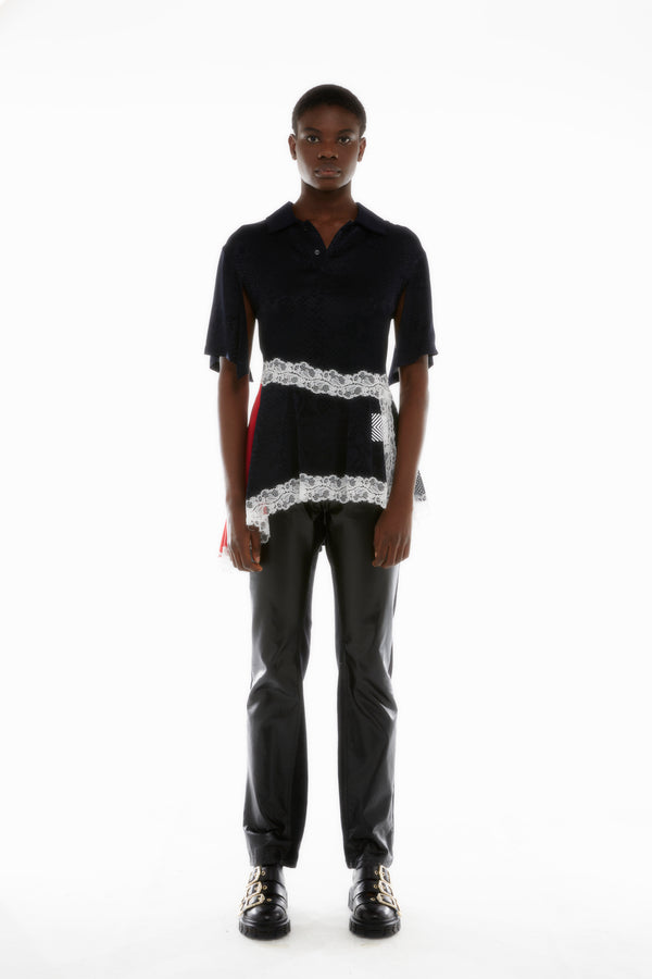 BLACK MULTI-PANEL POLO SHIRT
