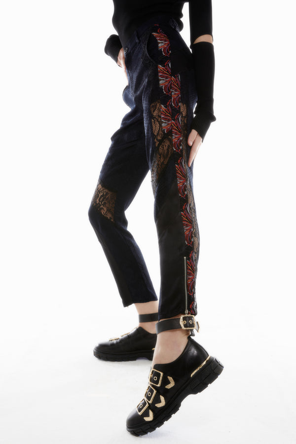 BLACK PYTHON FITTED TROUSERS