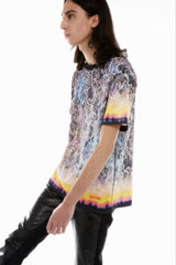 MULTICOLOR BURNING COVER-STITCH T-SHIRT