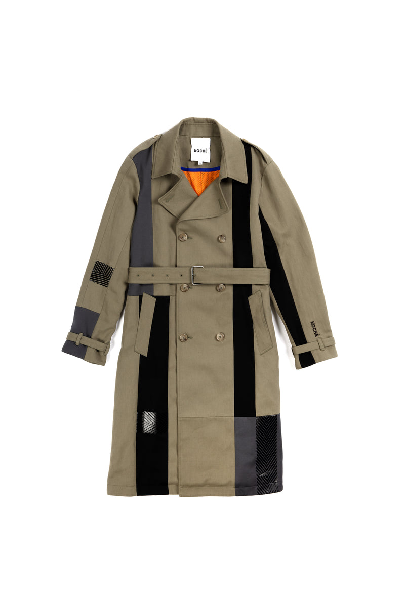 PATCHWORK TRENCH COAT DARK BEIGE & BLACK