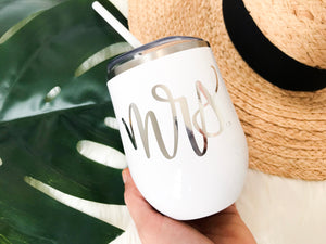 Mrs. Wine Tumbler with Straw - Details Matter Studio