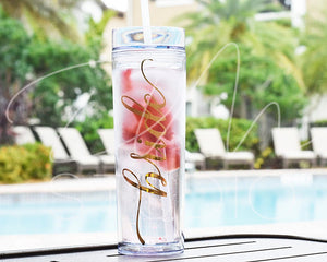 Acrylic Bride Tumbler with straw