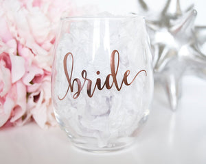 Rose Gold Bride Wine Glass