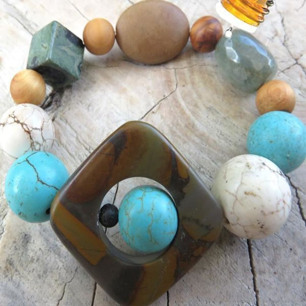 Best Natures all Natural Aromatherapy Bracelet with Cedar Wood Beads Agate Kambaba Jasper Bamboo Leaf Jasper Turquoise Howlite ant other