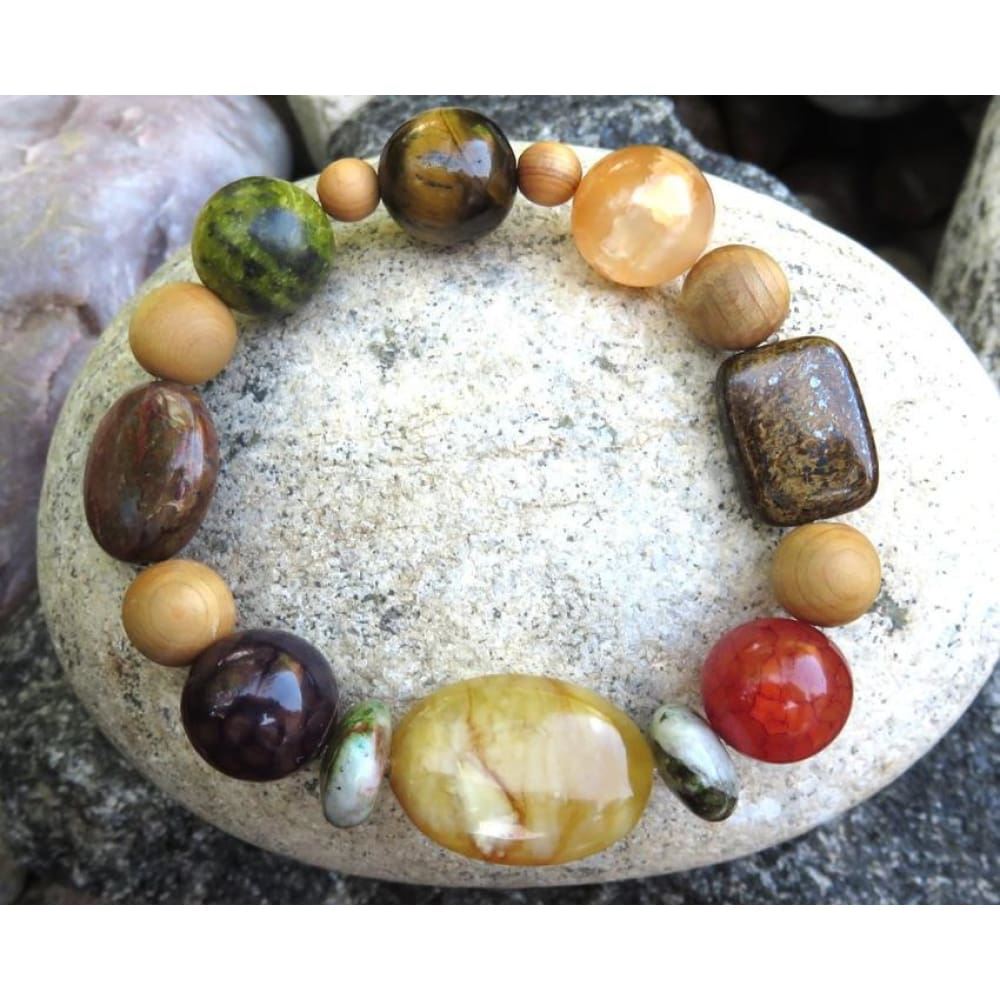 Best Natures all Natural Aromatherapy Bracelet with Cedar Wood Beads and semi precious stones ... - Pure Natural