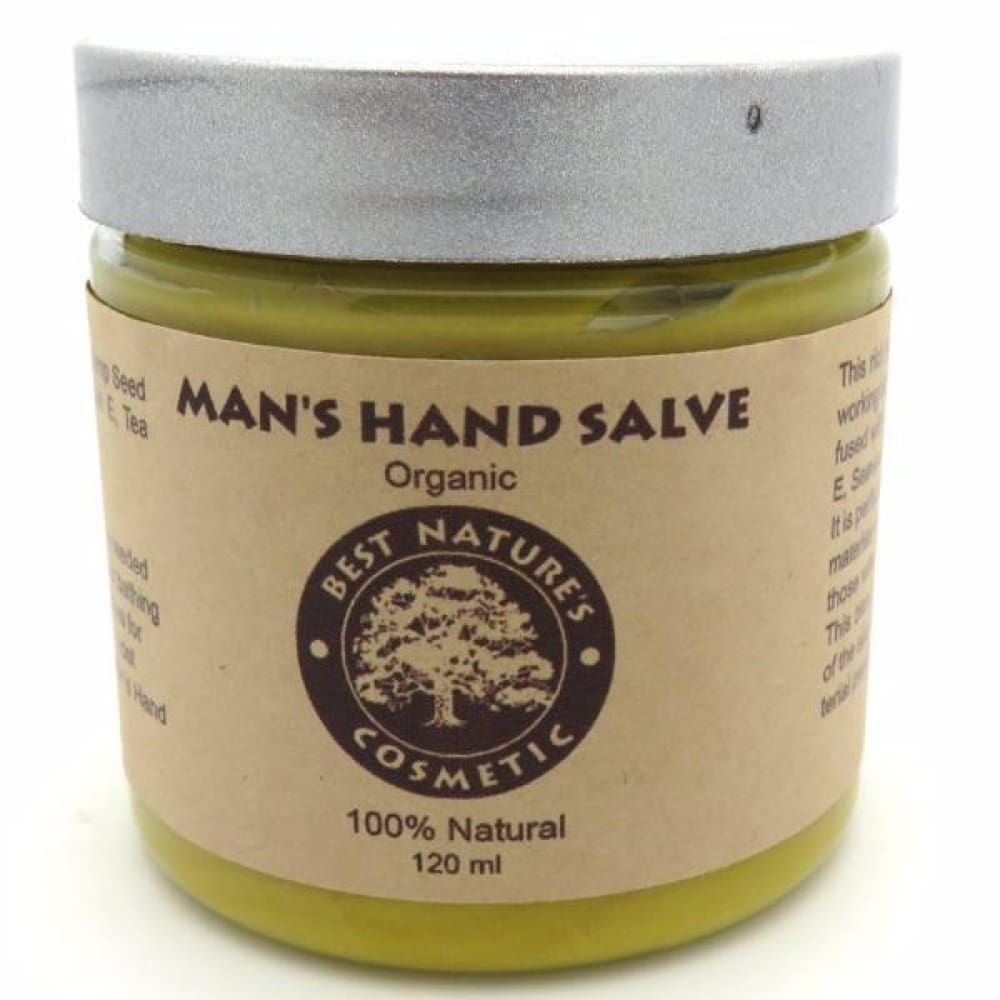 Organic Mans Hands Salve for hard working man hands extremely dry skin sooth dry chapped calloused working hands... 4oz / 120ml - Natural