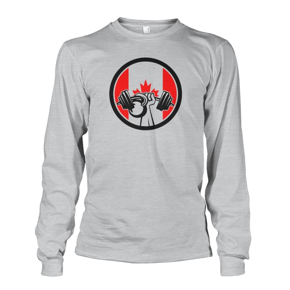 Pumping Iron Long Sleeve - Ash Grey / S / Unisex Long Sleeve - Long Sleeves