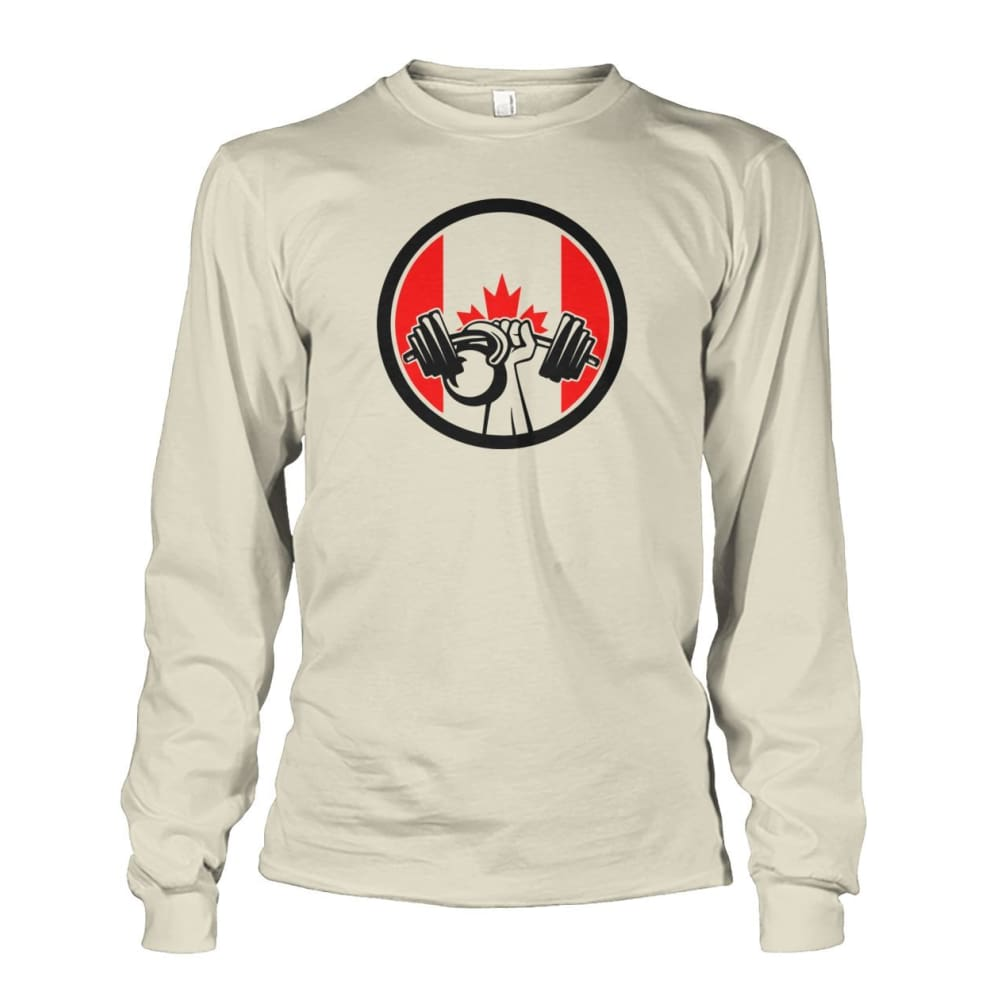 Pumping Iron Long Sleeve - Natural / S / Unisex Long Sleeve - Long Sleeves