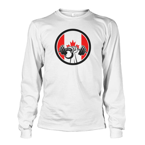 Image of Pumping Iron Long Sleeve - White / S / Unisex Long Sleeve - Long Sleeves