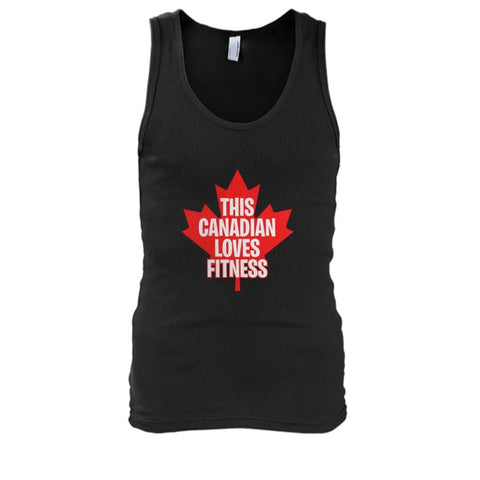 Image of This Canadian Loves Fitness Tank - Black / S / Mens Tank Top - Tank Tops
