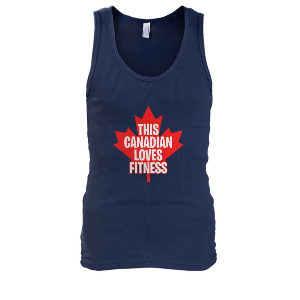 This Canadian Loves Fitness Tank - Navy / S / Mens Tank Top - Tank Tops