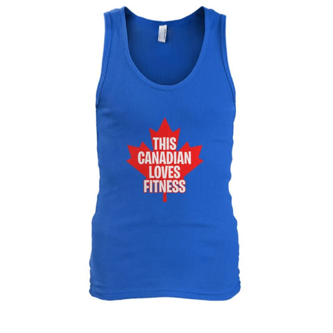 Image of This Canadian Loves Fitness Tank - Royal / S / Mens Tank Top - Tank Tops