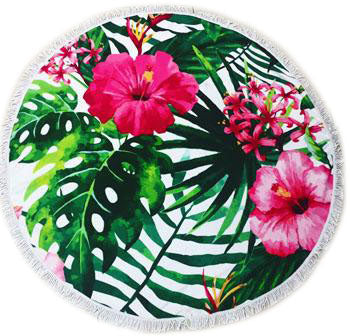 Serviette Microfibre ronde Hawaii Flowers
