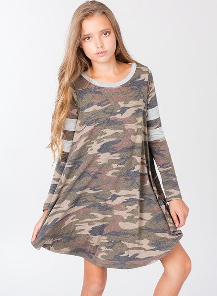 Camo Swing Dress - Madison Blair Boutique