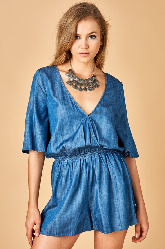 Chambray Romper - Madison Blair Boutique