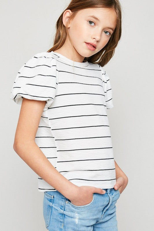 Stripe Puff-Sleeve Top - Off White - Madison Blair Boutique