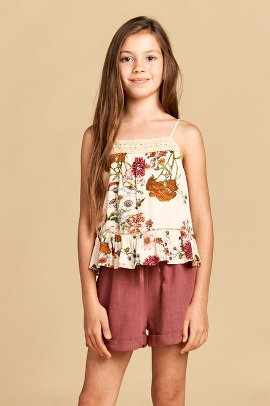 Floral Spaghetti Strap Top - Madison Blair Boutique