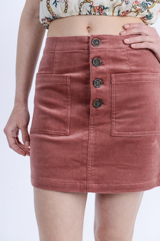Button Up Corduroy Mini Skirt - Madison Blair Boutique