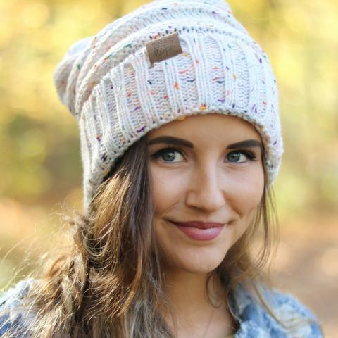 Oatmeal Confetti Beanie - Madison Blair Boutique
