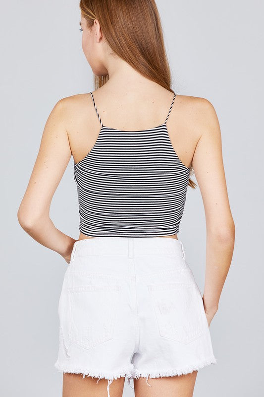 Stripe Halter Neck Cami - Madison Blair Boutique