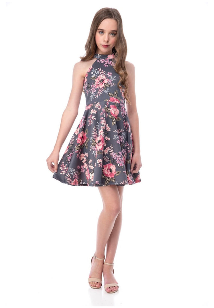 UDT Floral Halter Dress - Madison Blair Boutique