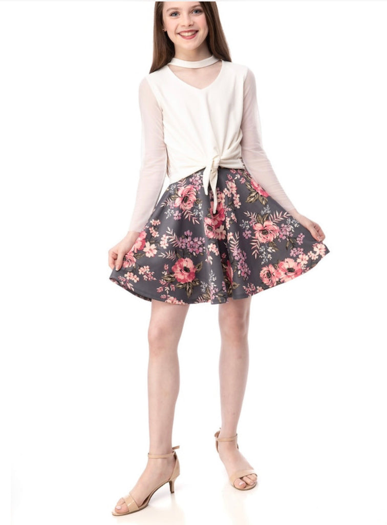 UDT Floral Skater Skirt - Madison Blair Boutique