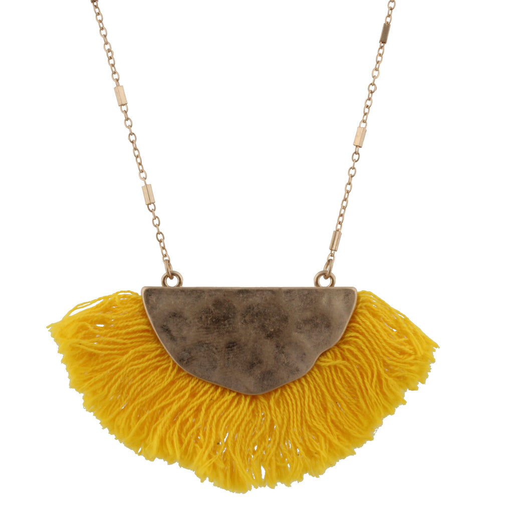 "30"" Gold Bib with Yellow Fringe Necklace - Madison Blair Boutique"