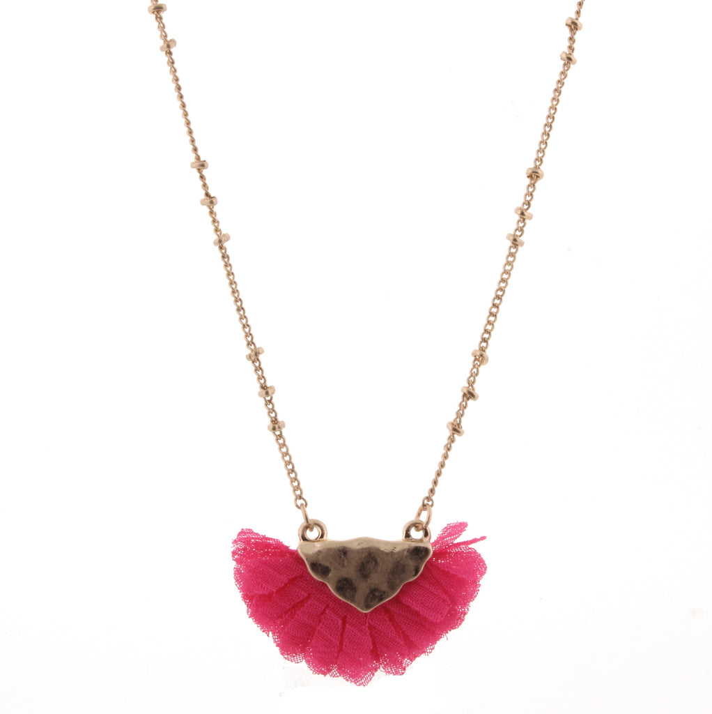 "14"" Kids Hot Pink Gold Bib Necklace - Madison Blair Boutique"