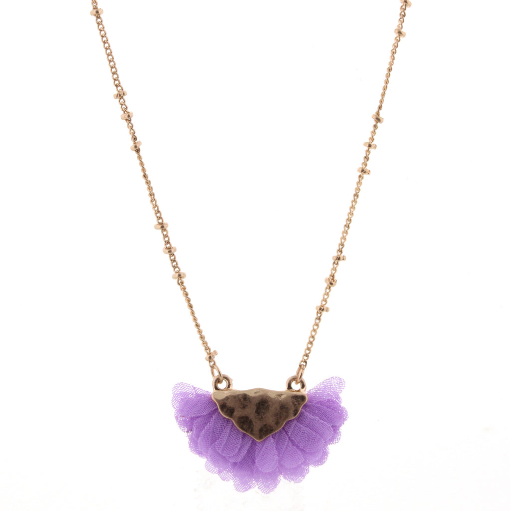 "14"" Kids Lavender Gold Bib Necklace - Madison Blair Boutique"