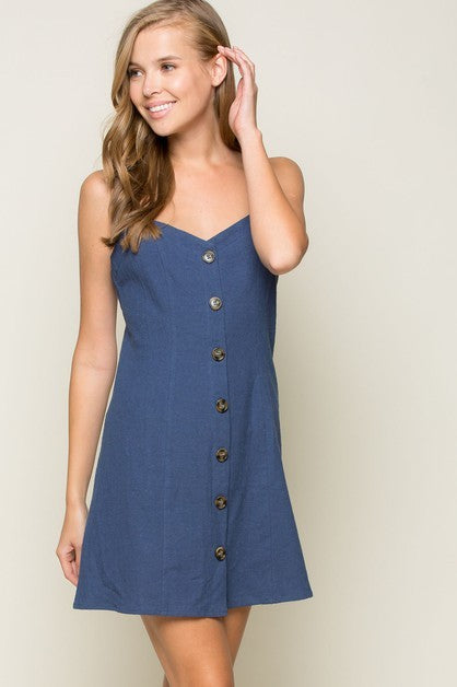 Button Down Strappy Dress - Madison Blair Boutique