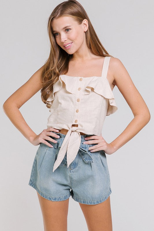 Front Button and Tie Top - Madison Blair Boutique