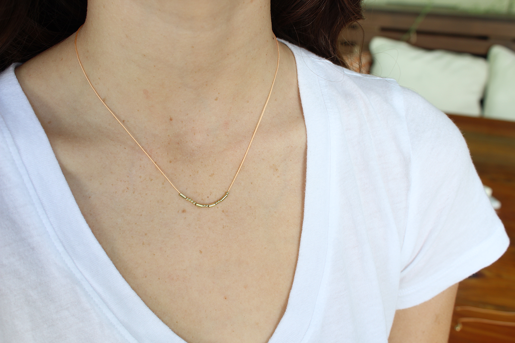 MORSE CODE NECKLACE - GOLD - BRAVE - Madison Blair Boutique