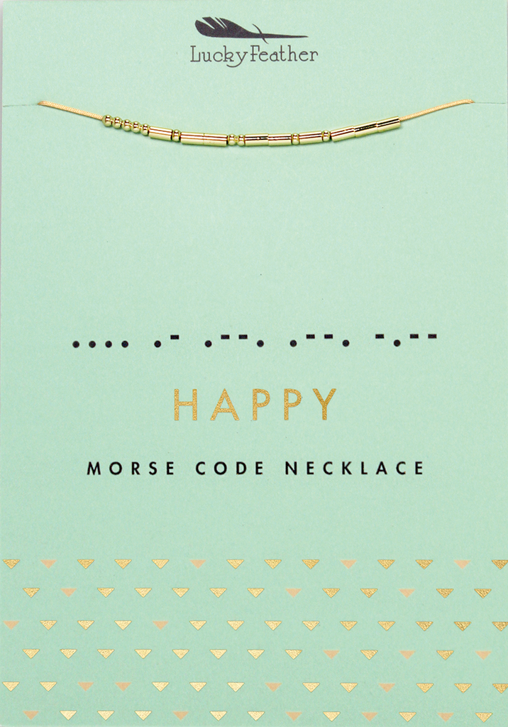MORSE CODE NECKLACE - GOLD - HAPPY - Madison Blair Boutique