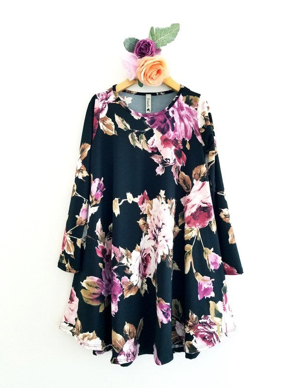 Floral A-line Draped Tunic Dress