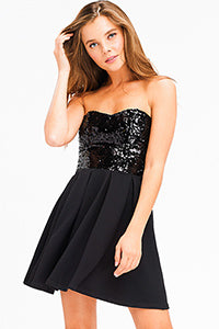 Strapless Sequined Mini Dress - Madison Blair Boutique