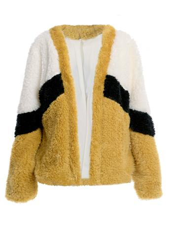 Color Block Faux Fur Jacket - Madison Blair Boutique