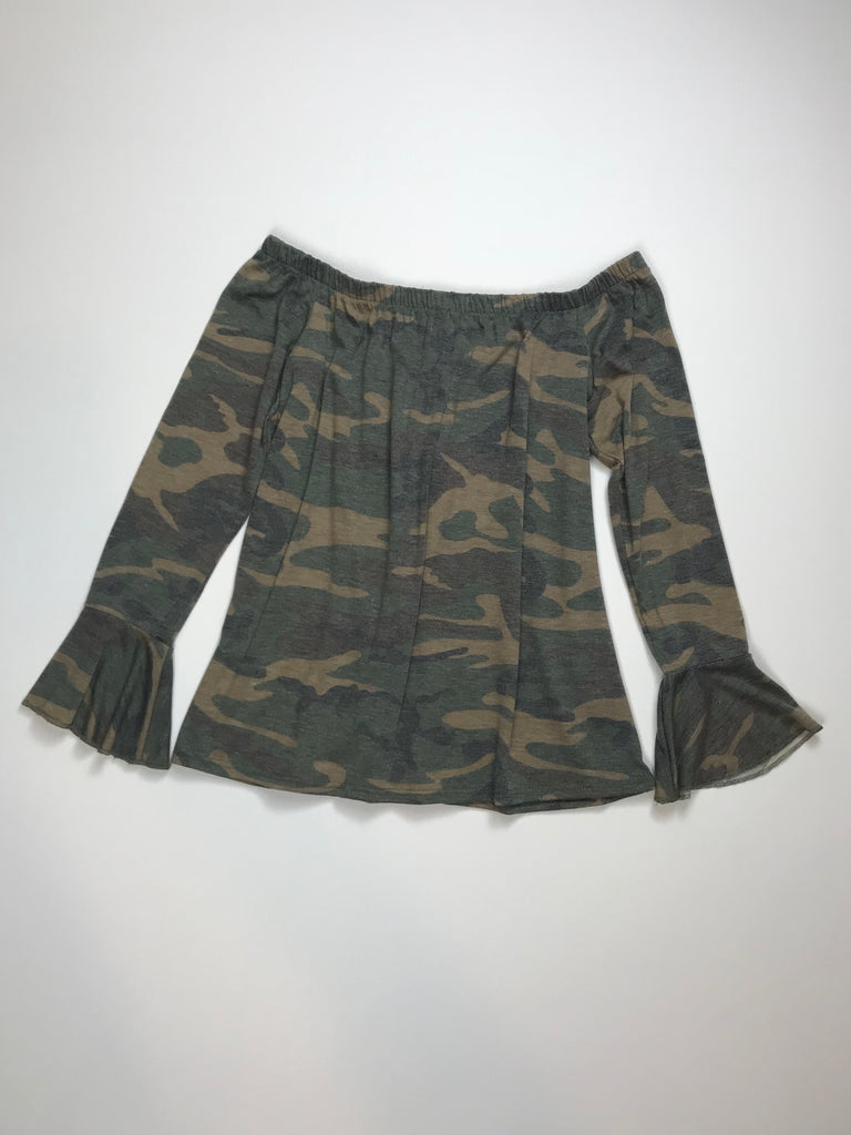 CB Off Shoulder Camo Top - Madison Blair Boutique