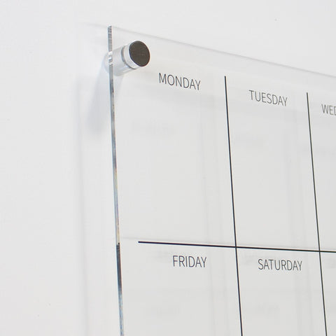 clear floating frameless acrylic glass weekly wall planner