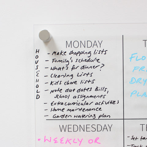 example of siisti clear acrylic weekly wall planner