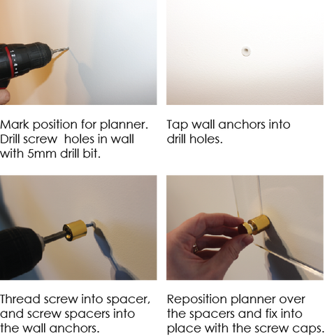 quick instructions for how to install planners with supplied wall plugs