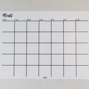 Magnetic Monthly Calendar - WHITE