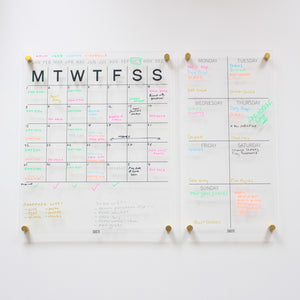 Perpetual Wall Calendar with Note Space - CLEAR